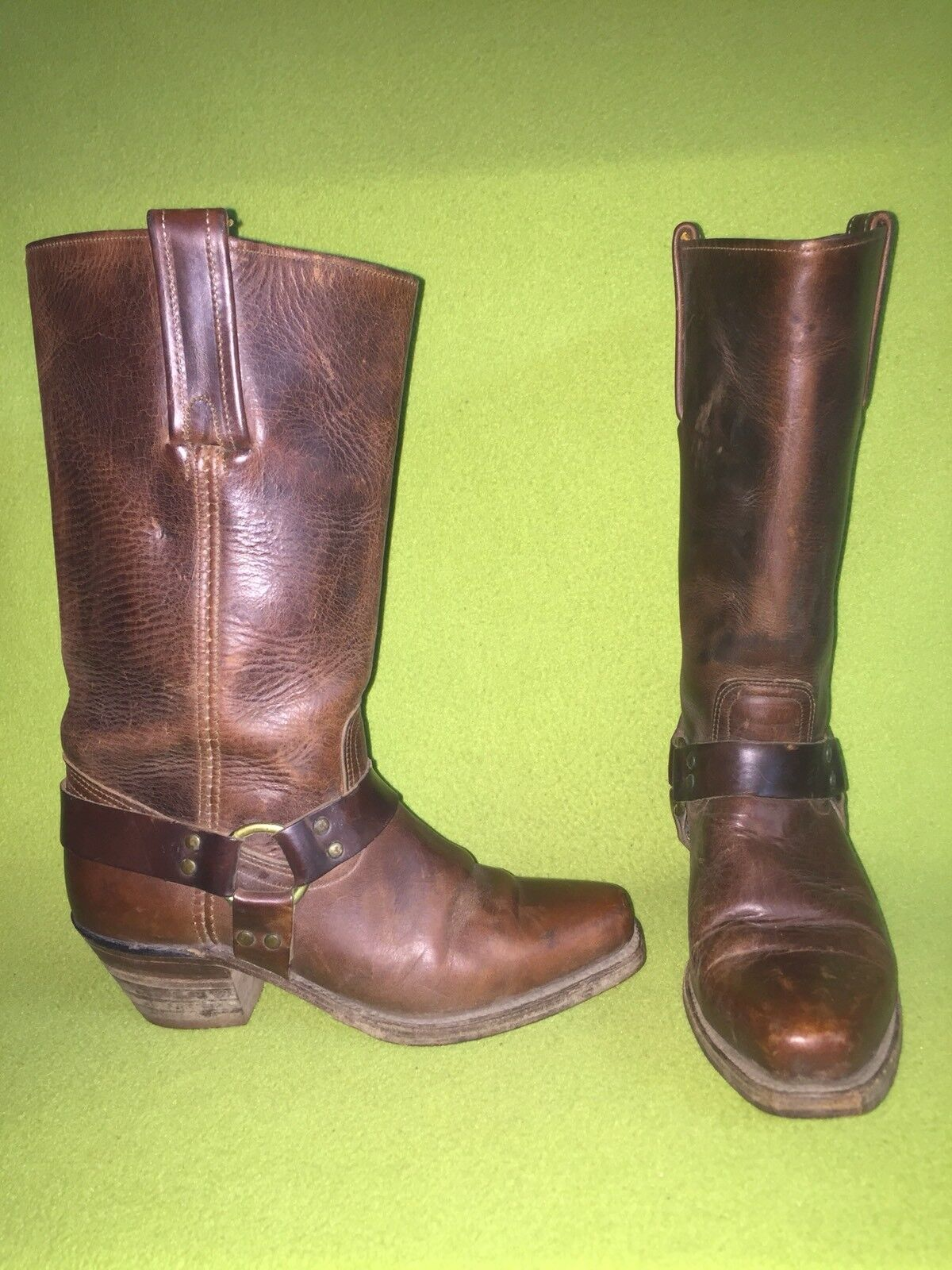 Brown Frye Boots with Ring & Straps 7.5