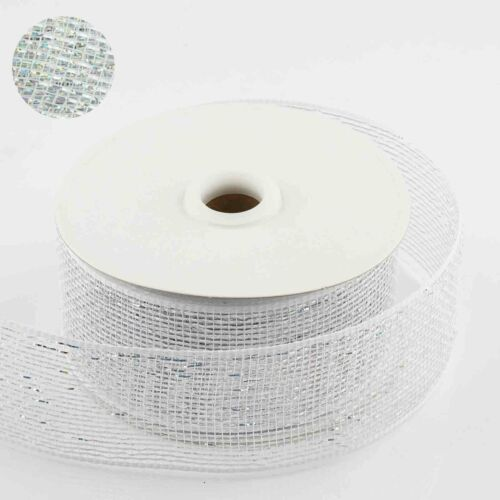 White 2.5 inch x 25 yards Deco Mesh RIBBON DIY Crafts Party Favors Decorations