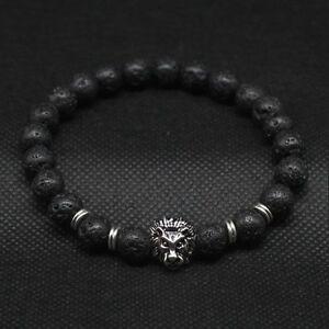 Men-Fashion-Black-Lava-Stone-Gold-amp-Silver-Lion-Beaded-Cuff-Charm-Bangle-Bracelet