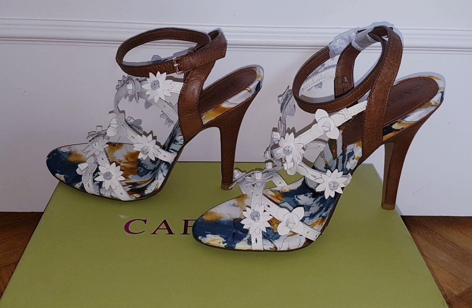 Cafè Noir Pumps High Heels mit Blumen Gr. 38 Neu