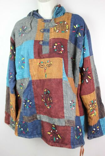 Stonewashed FLEECE Lined Shirt Pullover Patchwork Hooded Jacket Kurta Top PPJ1