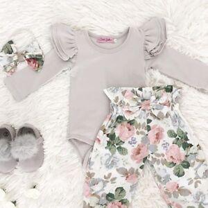 Newborn Baby Girl Floral Clothes Jumpsuit Romper Bodysuit Pants Outfit Set 3PCS