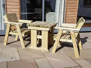 Image is loading Premium-Companion-Wooden-Garden-Table-&-Chairs-Set- & Premium Companion Wooden Garden Table u0026 Chairs Set Pressure Treated ...