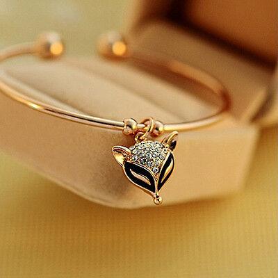 Fashion Simple Women Lady Rhinestone Fox Opening Bracelet Bangle Gift
