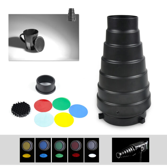 Aluminum Conical Metal Snoot With Honeycomb Grid +5 Colors Filters For Bowens
