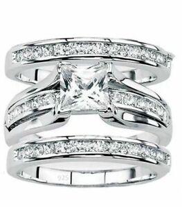 Women-039-s-925-Sterling-Silver-Wedding-Band-PrincessBridal-Engagement-Ring-3pc-Set