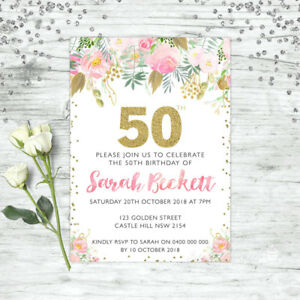 Image Is Loading 50TH BIRTHDAY PARTY INVITATIONS FIFTY PERSONALISED SUPPLIES