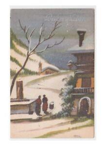 1942-Tarjeta-Postal-Antigua-Feliz-Cumpleanos-Buon-Navidad-Paisaje-Fuente-de-Pais