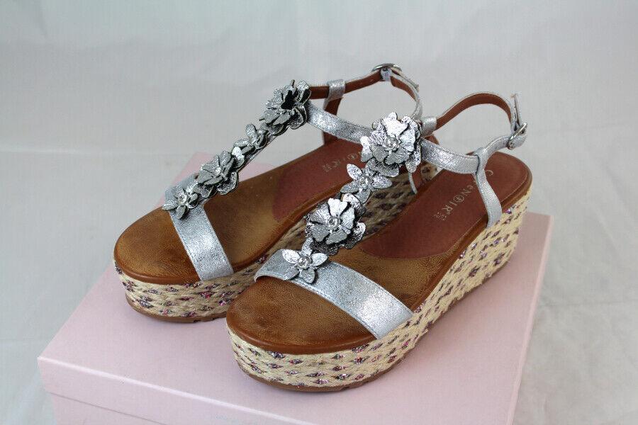 CAFèschwarz Damen Sandale Keilsandale Wedges silber 3DBlaumen Gr 35 37 38 40 NEU Y43