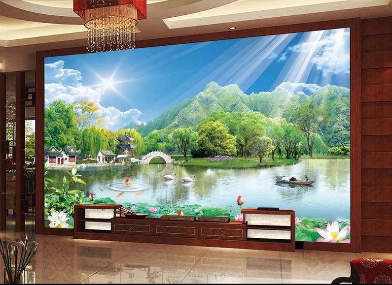 3D Sunlight Lake 47 Wallpaper Murals Wall Print Wallpaper Mural AJ WALL UK Carly