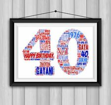 Item 2 PERSONALISED 1st 18th 21st 30th 40th 50th WORD ART PRINT BIRTHDAY KEEPSAKE GIFT
