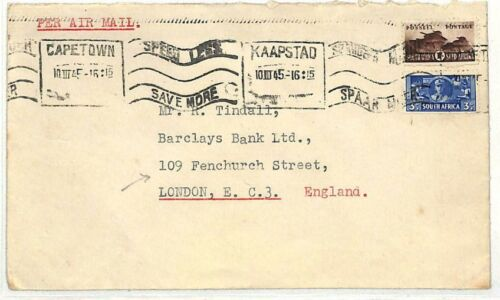 AB26 1945 Cape Town to Barclays Bank London Cover Samwellscovers