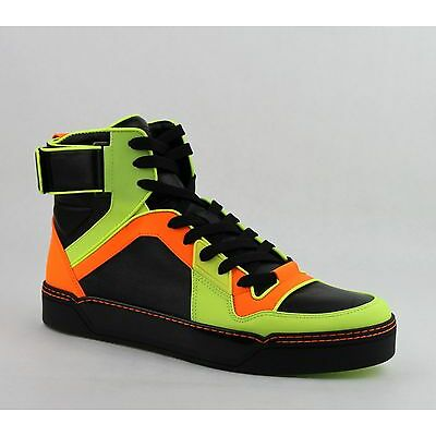 $860 Gucci Men's Neon Leather High-Top Sneakers Yellow/Green/Black 386738 7170
