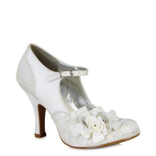Ruby Shoo Emily Silver white Vintage Flower Buckle High Heel shoes Or London Bag