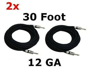 2-Cables-30-ft-12-Gauge-1-4-039-039-to-1-4-039-039-Speaker-Cables-Pyle-PPJJ30-NEW