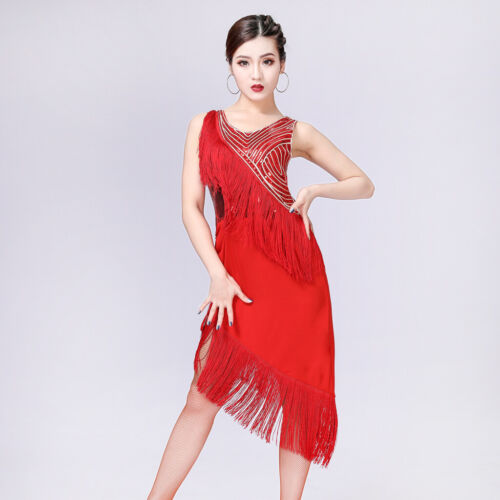 Attractive Sequined Latin Rumba Dance Dress Cocktail Party Costume Fringe