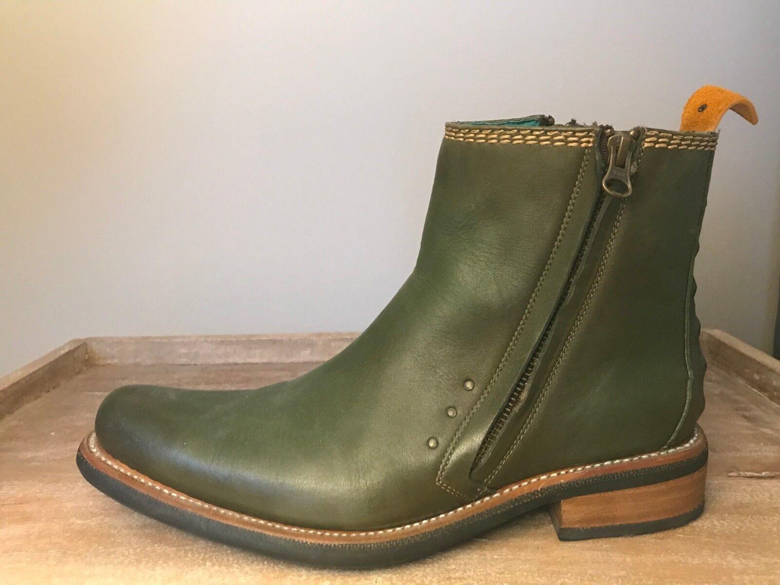 Pskaufman Para Hombre De Cuero Biker botas, (estilo 1041-verde Oscuro)
