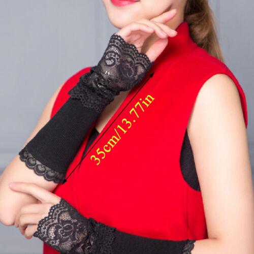 Winter Stulpen Hand Damen Fingerlose Lange Handschuhe Spitze Arm Ärmel Wärmer