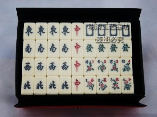 Traveling Mah Jong Set with Carrying Case Engraved Mahjong 麻将牌