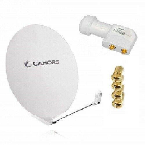 CAHORS Parabole satellite fibre composite blanche SMC 80cm + LNB twin HDSAT 4K