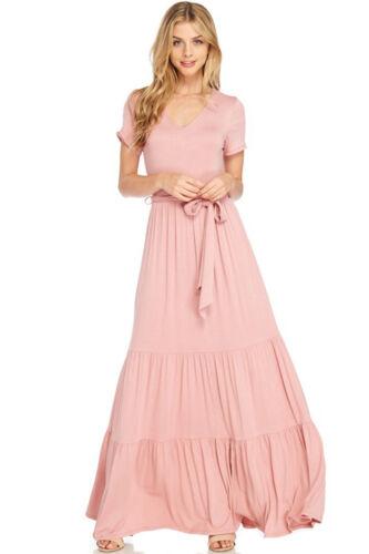Women/'s T-Shirt Tiered Maxi Dress Short Sleeve V-Neck Long Flowy Casual Boho