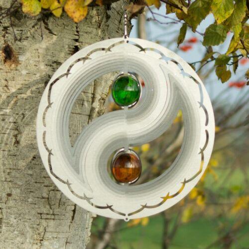 YIN YANG Edelstahl Windspiel 3-D Glas Kugeln Feng Shui Garten Terrasse fr Ø30  c