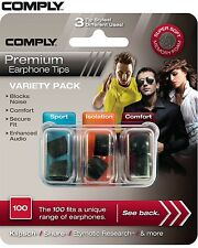 Comply Foam Variety Pack 100 3 Pairs In-Ear Earphone Tips Medium Black JE