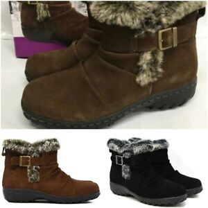 4fe1fd790fa Khombu Womens All Weather Suede Lindsey Faux Fur Booties Pic Co & Sz ...