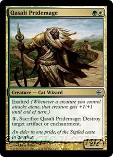 QASALI PRIDEMAGE Alara Reborn MTG Gold Creature — Cat Wizard Com