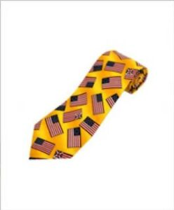 Patriotic-Yellow-Necktie-covered-with-American-Flags-Colorful-accessory