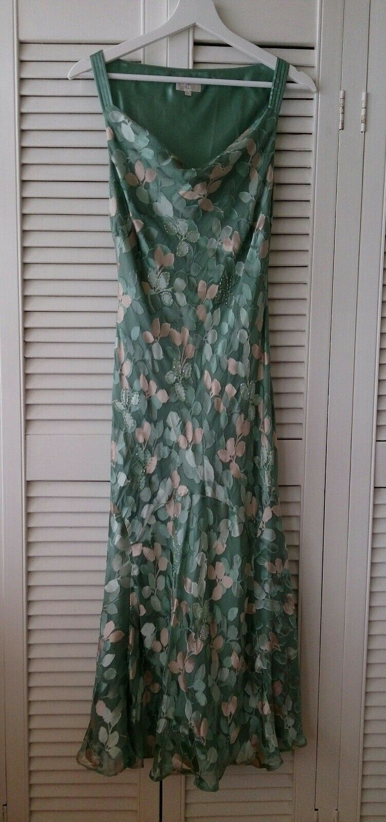 Country Casuals Teal gold Leaf Silk Mix Dress 10 Mother Wedding Prom Cruise