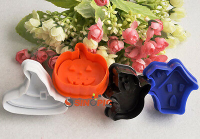 4PCS Halloween Witch Hat Evil Pumkin Creepy House Cutter Cake Cookie Pastry Mold