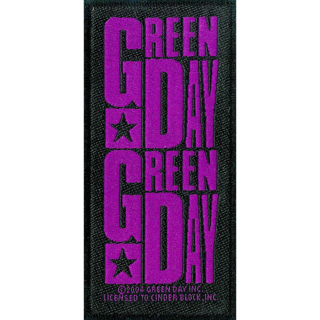 Green Day Purple Logo Official Black Rectangle Sew On Woven Patch Rock