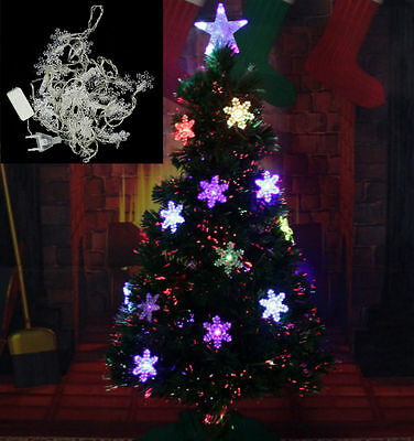 45m 28 led snowflak outdoor indoor string fairy light christmas xmas tree decor - Unique Christmas Tree Lights