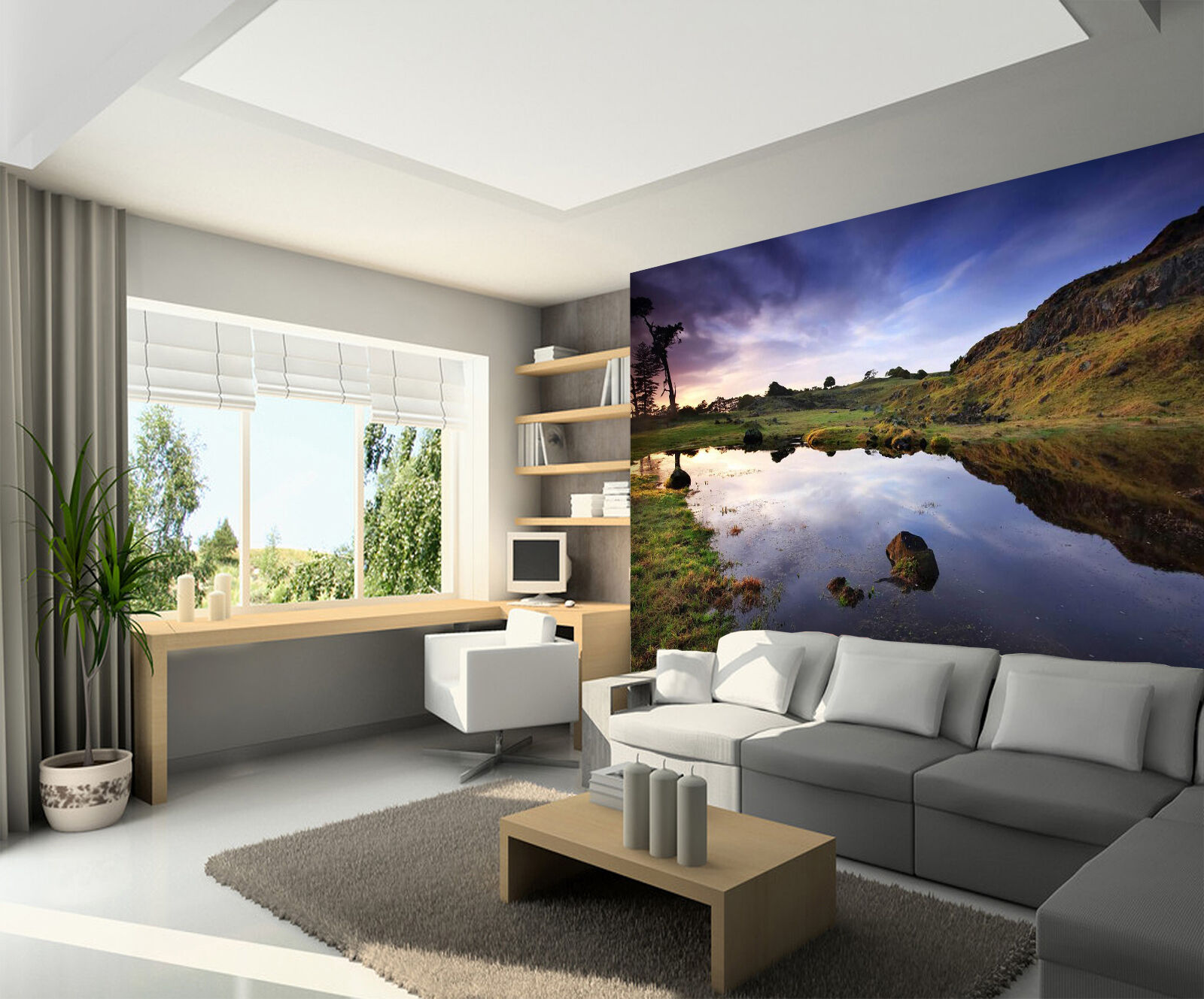 3D Mountains Lake Scenery 02 Paper Wall Print Wall Decal Wall Deco Indoor Murals