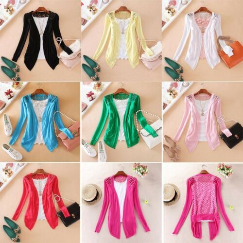 LONG SLEEVE CROCHET Knitwear Lace Panel GIRLS Jumper Cardigan Sweater Shrug UK