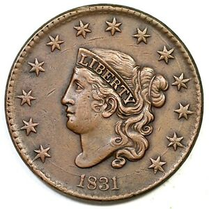 1831 N-1 Lg Letters Matron or Coronet Head Large Cent Coin 1c