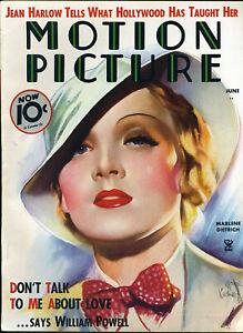 MOTION-PICTURE-mag-JUNE-1935-MARLENE-DIETRICH-cover-artist-MORR-KUSNEY