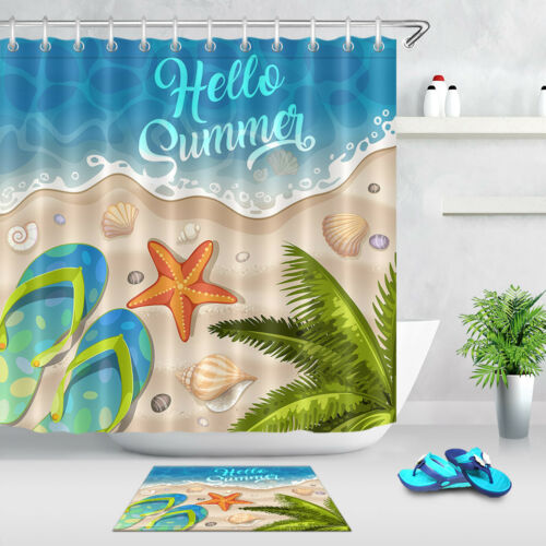 Summer Holidays in Beach Seashore Shower Curtain Set Bathroom Polyester Fabric