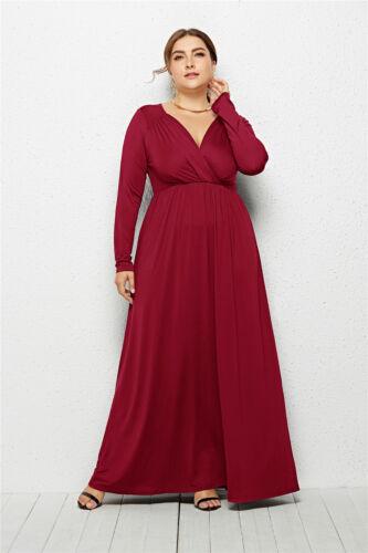Grande Taille Femme Warp Col V Robe Soirée Solide Couleur Desseré Cocktail