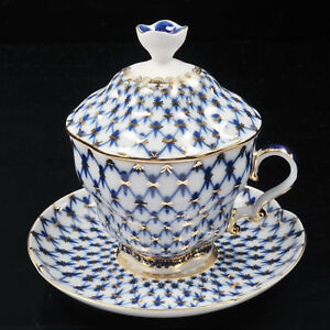 Cup-with-saucer-and-lid-tea-Lomonosov-Porcelain-Grid-Cobalt-IFZ-Russia