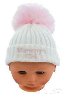 9b5bfd96e Baby Boys Girls Cable Knitted Pom Pom Hat With Embroidery Daddy ...