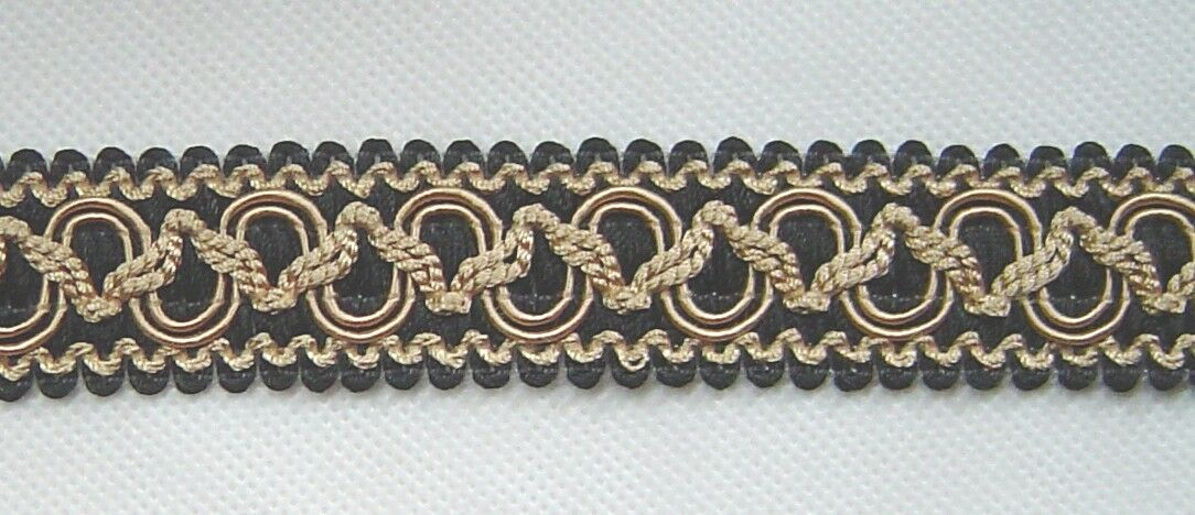"""1.25/"""" Braid 3 YD Putty and Gold has matched Trim Gimp Rosette Tassel Fringe Cord"""