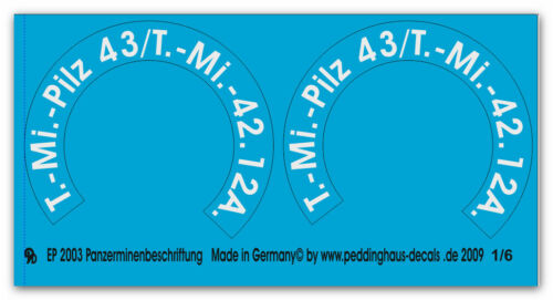 Peddinghaus-Decals 1//6 2003 2 TEDESCO panzerminen markings