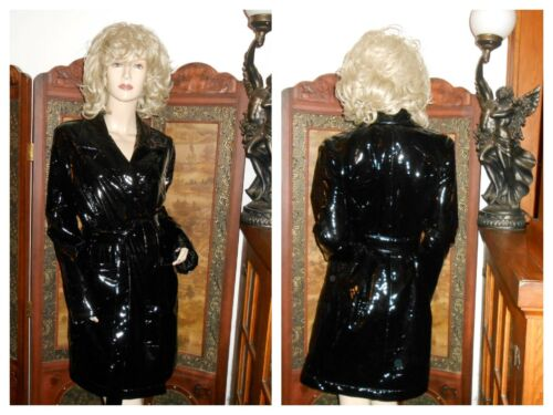 M/L Shiny Black vinyl raincoat polyurethane rain j