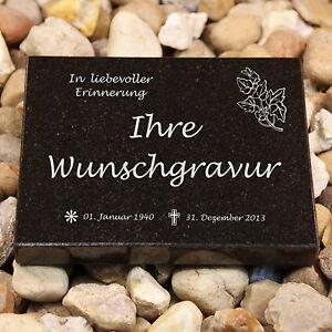 Grabplatte schwarz Grabstein Urnengrab Granitplatte inkl.  Gravur, Maß 20x25x3cm