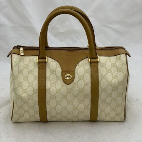 Vintage Gucci GG Plus Boston Bag Tan Monogram Logo