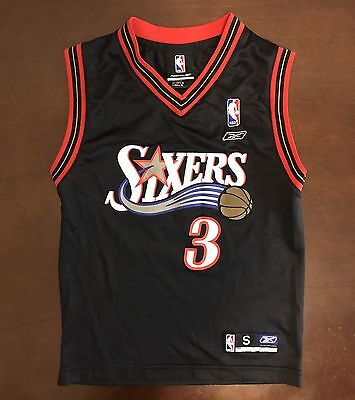 Vintage Reebok NBA Philadelphia 76ers Allen Iverson Basketball Jersey Youth S   eBay