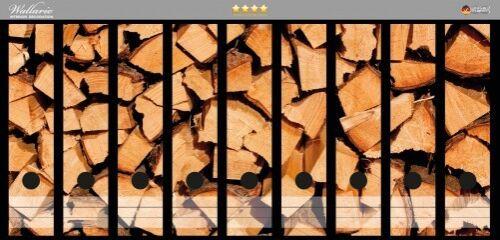 Wallario Ordnerrücken selbstklebend für 9 breite Ordner Holzstapel Kaminholz