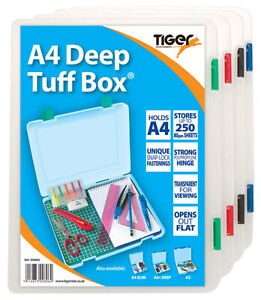 Details about A4 DEEP TUFF BOX - File Storage Organiser School Office Solid  {Tiger Stationery}